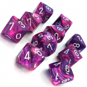 Violet & White Festive D10 Ten Sided Dice Set